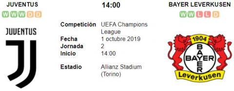 Resultado Juventus 3 - 0 Bayern Leverkusen 01 de Octubre UEFA Champions League 2019